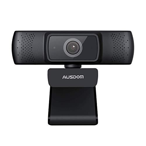 🥇 AUSDOM Cámara PC con Microfono Webcam de Ordenador Web Camara USB HD 1080P de Video con Enfoque Automático con Clip Giratorio Flexible