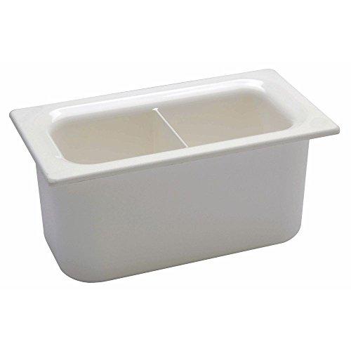 - Carlisle Coldmaster 4 2/5 qt White ABS Plastic Divided Food Pan - 1/3 Size 6