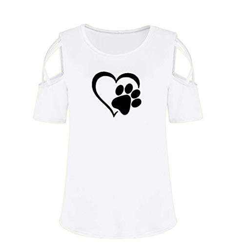 Moda del Camicetta Estivi Tops Donna Rotondo Casuale Donne Classiche Senza Collo Shirt Stampato con Maglietta Bretelle Bluse Base Corta Eleganti Manica 5Fqww7S