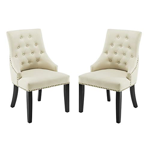 DAGONHIL Fabric Dining/Accent Chairs (Set of 2) with Black Solid Wooden Legs,Nailed Trim (Beige) (Sale Dining Arm Room Chairs)