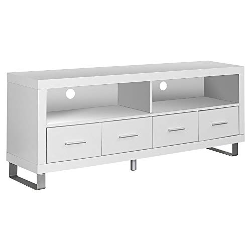 Monarch Specialties I 2518, TV Console with 4 Drawers, White, 60