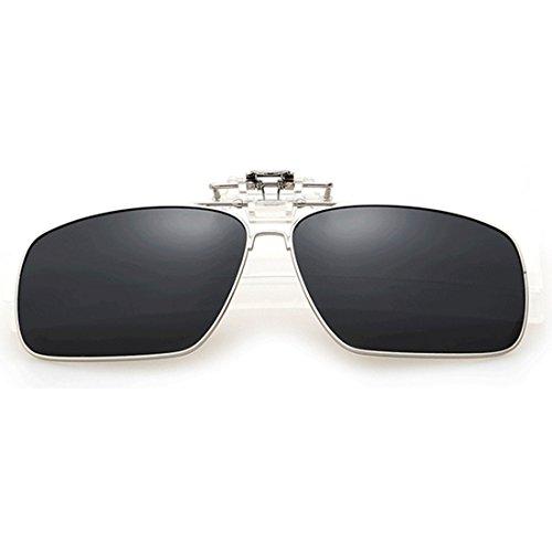Flip Clip en lunettes soleil Polarized lunettes métal Rectangle Unisexe Clip sur Gris de Inlefen up de Polarized soleil vAUxq8n