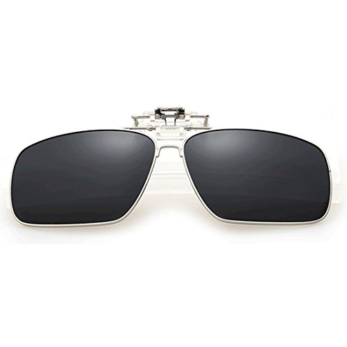 gafas sol polarizadas up Aiweijia polarizado de en Clip sol Unisex rectangulares de Clip Metal Gris gafas Flip pOPwp