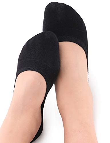 VERO MONTE 4 Pairs footies socks for women (Black, 8-9.5) -invisible socks450425