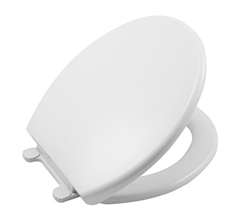 Slow Close Round White Plastic Toilet Seat and Lid with Quick Release Hinges | Easy removal to clean and maintain|for Round Toilet Bowls | Heavy duty Plastic | Quiet Slow - Close Slow Toilet Lid