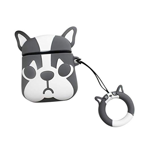 Libison Earbud Cases, Cute Dog Design Earphone Carrying Case Silicone Storage Bags for Apple for Air pods Bluetooth Headset Wall Charger with Key Ring Protective Pocket Case Cover (Gray)