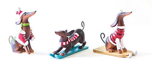 Ornaments Dachshund - Perfectly Festive - Winter Sports (Sledding, Skiing and Skating) Dachshund Christmas Tree Ornament Gift (Set of 3)