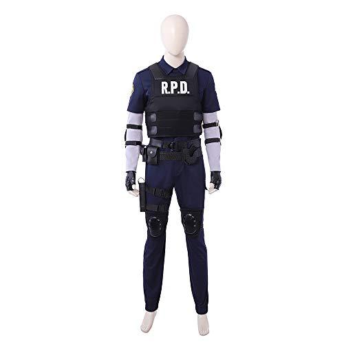 Resident Evil 2 Leon Scott Kennedy Uniform Outfit Cosplay Costume Halloween -