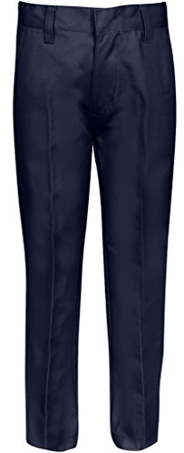 PREMIUM Flat Front Pants for Boys with Adjustable Waist 10 Husky (Boys Navy Dress Pants)