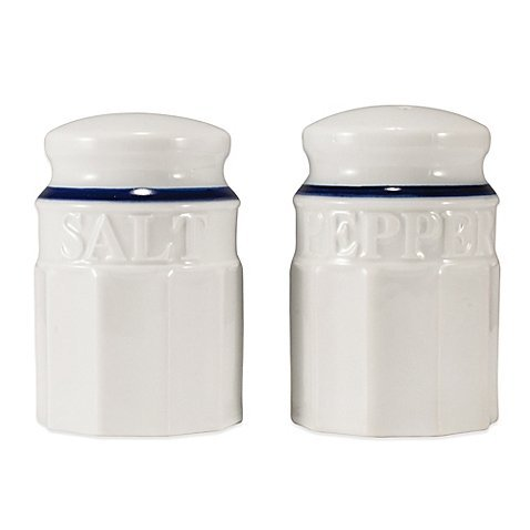 White with Blue Rim Salt and Pepper Shaker Set of 2