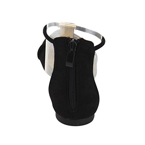Beston De55 Womens T-stropp Tilbake Zip Dorsay Ballerina Leiligheter Kjøre En Størrelse Liten Svart