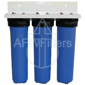 "20"" 3 Stage Big Blue Whole House Complete Water Filter System with 4.5"" diameter Sediment, GAC, & Carbon Filters"