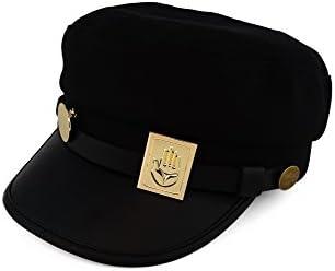 Cosplay Real Type JoJos Bizarre Adventure Cosplay Metal Badge Jotaro Hat Adjustable Cap