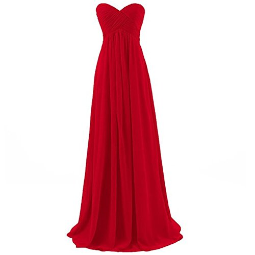 H.S.D Womens A Line Sweetheart Long Chiffon Bridesmaid Dress Prom Gowns Red