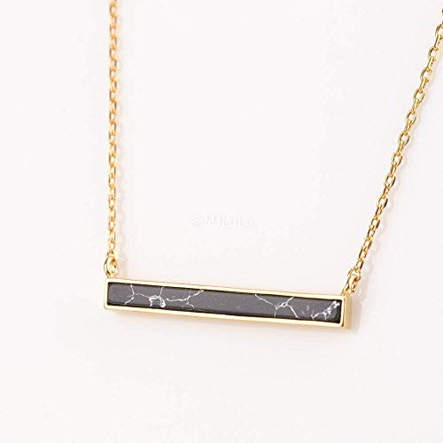 Minimal Black Simulated Howlite Marble Horizontal Bar Necklace