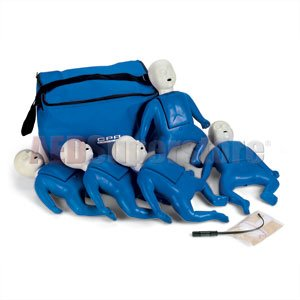 CPR Prompt (5 Pack) BLUE Infant Manikins w/50 Lung Bags, Nylon Carry Case & Tool - LF06050U by Nasco