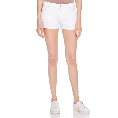 7 For All Mankind Womens Cuffed Classic Rise Denim Shorts White 28 ()