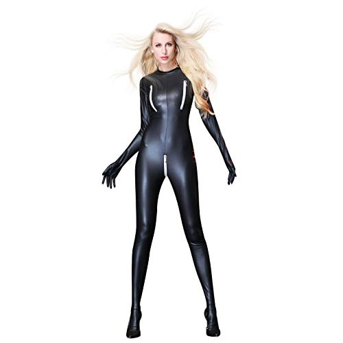 FUNFSEX Full Body Catsuit, Women Wet Look Jumpsuit Zipper Catsuit Zipper Chest Crotch Bodysuit,Back Zipper Patent Leather Long Sleeve Jumpsuit, Black -