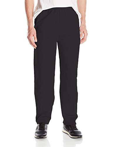 Hanes Men's Ecosmart Open Leg Fleece Pant with Pockets, Black, L ()