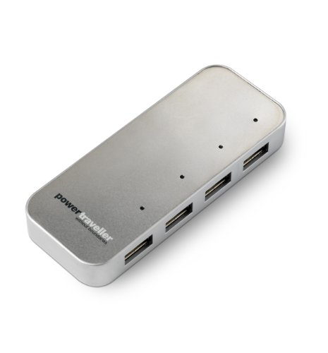 Powertraveller Spidermonkey 4-Port USB Charger Hub, Silver