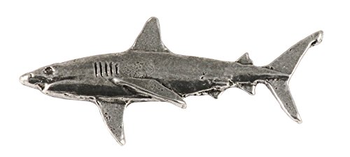 Creative Pewter Designs, Pewter Great White Shark, Handcrafted Saltwater Fish Lapel Pin Brooch, Antique Finish, (Fish Brooch)