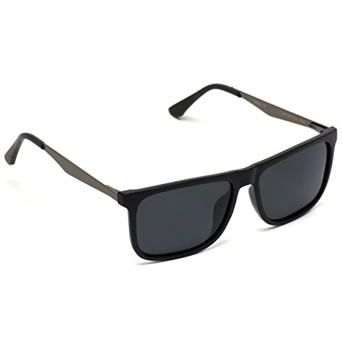 para Negro polarizadas hombre sol Gafas cuadradas con superior de Brillante y lentes parte negras plana OPxxFq