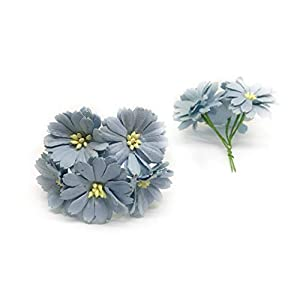 "1.5"" Blue Paper Daisies, Mulberry Paper Flowers, Miniature Flowers, Mulberry Paper Daisy, Paper Flower, Wedding Favor Decor, Artificial Flowers, 25 Pieces 2"