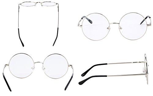 71d32facaf6 Agstum Retro Round Prescription ready Metal Eyeglass Frame (Medium Size)  (Silver)