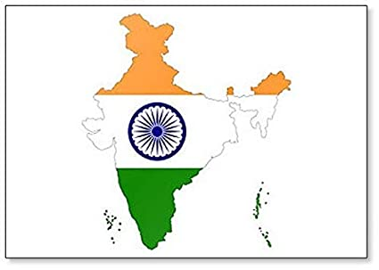 Amazon.com: India Map with Indian Flag Clic Fridge Magnet ... on indian print with flag, indian map with key, indian man with flag, india flag,