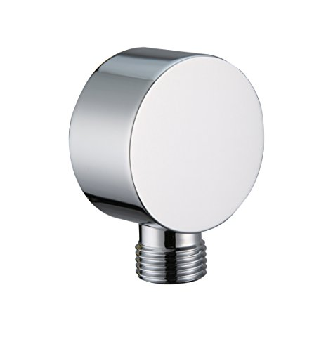 Kelica All Brass Wall Mount Supply Elbow For Hand Shower, Polished Chrome