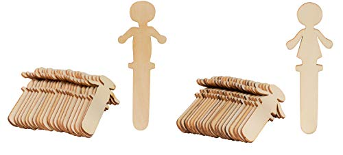 (People Craft Sticks - 100-Pack Wooden People Shaped Craft Sticks, 5.8 x 2 x 0.1 Inch Male and Female Wood Craft Sticks People for DIY Arts and Crafts Projects, Crafting Supplies)