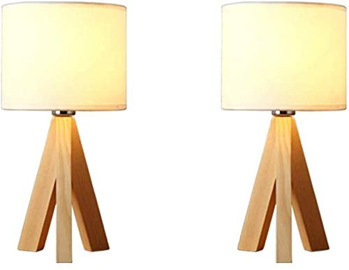 FANPING Mesita de luz de la lámpara juego de 2 Trípode lámpara de mesa con base de trípode Natural de madera con lino…