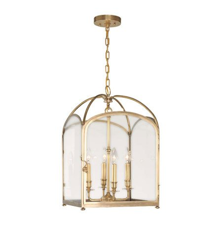Hudson Valley 6484-AGB, Oxford Large Square Pendant, 4 Light, 240 Total Watts, Brass