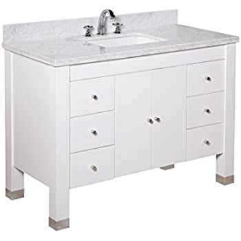 This Item Kitchen Bath Collection KBC9948WTCARR Riley Bathroom Vanity With  Marble Countertop, Cabinet With Soft Close Function U0026 Undermount Ceramic  Sink, ...
