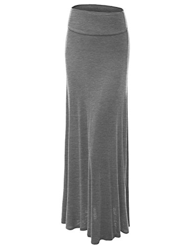 MBJ WB670 Womens Fold-Over Maxi Skirt S HEATHER_GREY