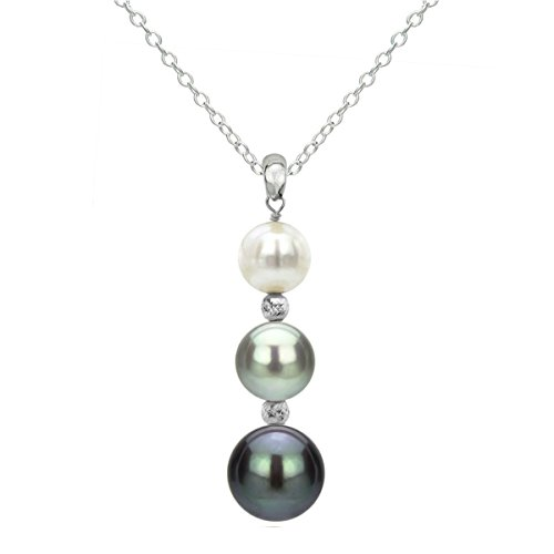 (La Regis Jewelry Sterling Silver Graduated 5-9.5mm Multi-Colors Freshwater Cultured Pearl Pendant Necklace, 18