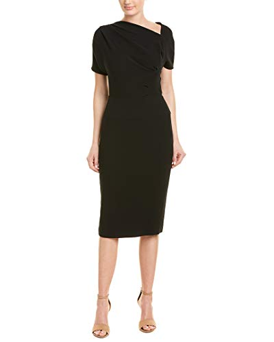 NARCISCO RODRIGUEZ Womens Narciso Rodriguez Draped Crepe Wool Midi Dress, 46 Black