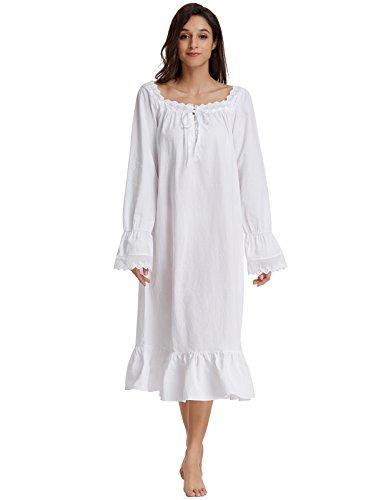 Zexxxy lingerie White Victorian Nightgowns For Women Plus Size Sleepwear With Flounce Hem XL