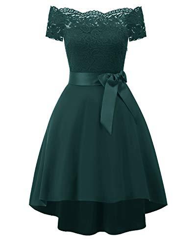 Womens Off Shouler Elegant Lace Wedding Bridesmaids Cocktail Mini Dress (1613 Green, M)