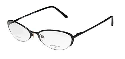 Vera Wang Epiphany Ii For Ladies/Young Women/Girls Designer Half-rim Titanium Crystals Spring Hinges Italian With Eyeglasses/Eye Glasses (50-17-135, Black)