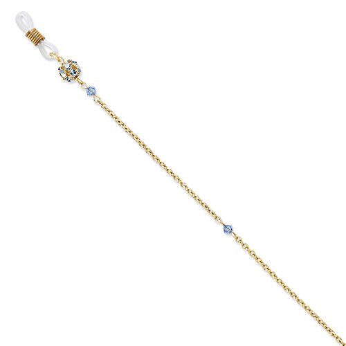 Jewelry : Gold-tone w/Blue Crystal 30in Eyeglass Holder Chain from JE