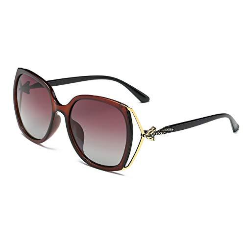 SZ·LINGKE Polarized Vintage Fox Diamond Oversized Square Sunglasses Women Brand Designer Fashion Big PC Fox Diamond Frame Ladies EyeGlasses Woman Classical Retro Driving Goggles UV(Tea & Tea)