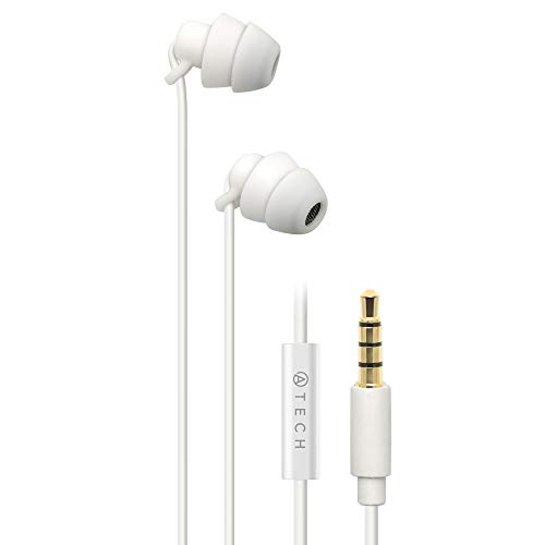 ATECH Ultra Flexible Silicon Sleeping Earbuds with Microphone Earplugs for ASMR, Insomnia, Snoring, Air Travel, Relaxation, Binaural, White