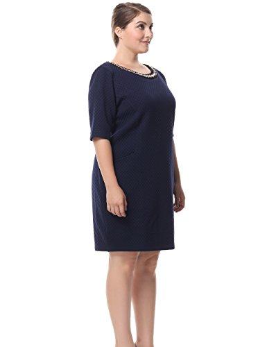Casual Vestito Collo Corte Ornamento Chicwe Maniche Forti Diamante Con Blu Lavoro Taglie E Da Donna qXxUY1O