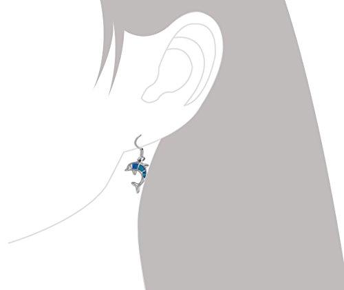 Sterling Silver Synthetic Blue Opal Dolphin Dangle Earrings
