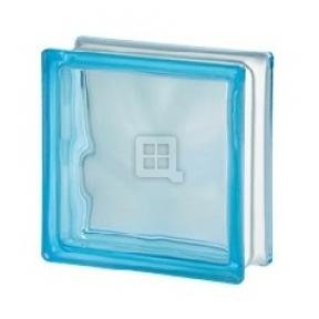 Seves Glass Block 7.5 x 7.5 x 3 Basic Wave Azure Color Glass Block by Seves Glass Block