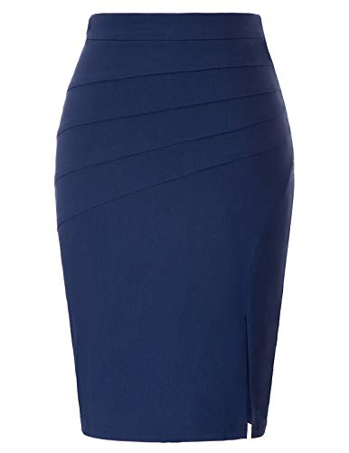 Kate Kasin Women's Solid Color Split Stretchy Elegant Hips-Wrapped Bodycon Pencil Skirt