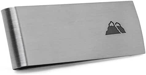 Mountain Money Clip   Stainless Steel Money Clip Laser Engraved In The USA.