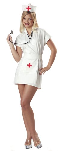 California Costumes Women's Fashion Nurse White Costume, White, -