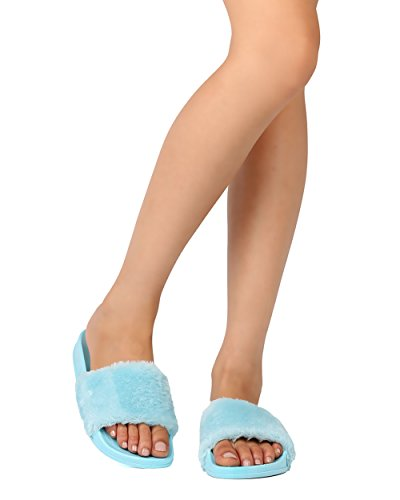 Cape Robbin Fg76 Donna Open Toe Furry Slip On Flat Sandal Baby Blue